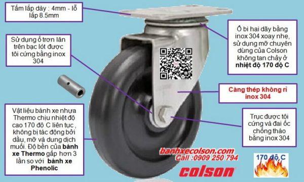 bánh xe chịu nhiệt càng inox quay 360 độ 2-4456-53HT banhxecolson.com