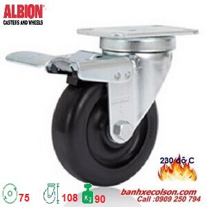 bánh xe chịu nhiệt 75mm càng xoay có khóa A2-3346-52HT-BRK4 banhxecolson.com