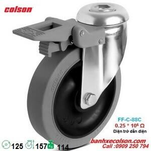 bánh xe chở hàng cao su d125 dẫn điện có khóa lắp lỗ giữa Ø12 banhxecolson.com