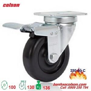 bánh xe có khóa chịu nhiệt 4inch càng thép 2-4646-53HT-BRK4 banhxecolson.com