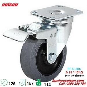 bánh xe đẩy 125 dẫn điện 0.25x10^6 Ohm có khóa 2-5646-445C-BRK4