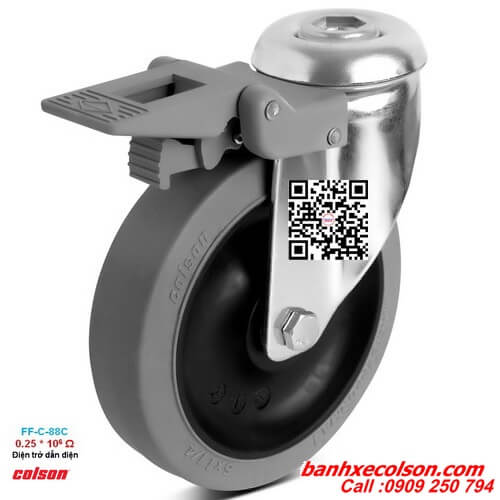 Bánh xe đẩy chống tĩnh điện có khóa lắp lỗ giữa Ø 12mm banhxecolson.com