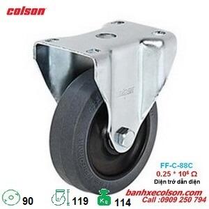 bánh xe đẩy ESD dẫn điện phi 90mm càng cố định 2-3608-445C banhxecolson.com