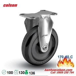 bánh xe phi 100 chịu nhiệt càng inox 304 cố định 2-4408-53HT banhxecolson.com