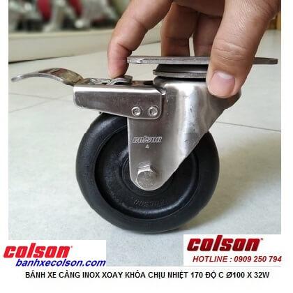 Hình thực tế bánh xe chịu nhiệt có khóa phi 100 càng inox 2-4456-53HT-BRK4 banhxecolson.com