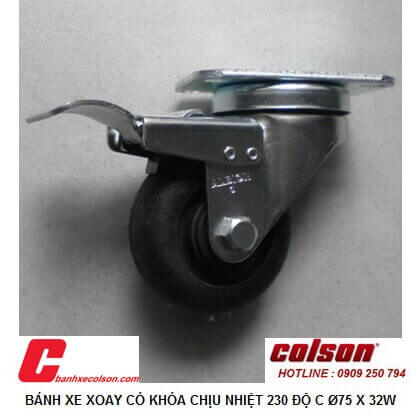 Hình thực tế bánh xe chịu nhiệt 75mm càng xoay có khóa A2-3346-52HT-BRK4 banhxecolson.com