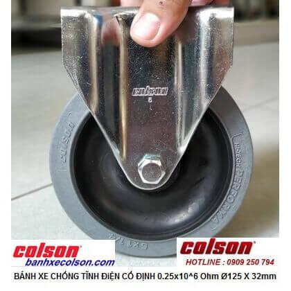 Hình thực tế bánh xe dẫn điện 5 inch 0.25x10^6 Ohm càng cố định 2-5608-445C banhxecolson.com
