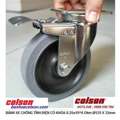 Hình thực tế bánh xe đẩy 125 dẫn điện 0.25x10^6 Ohm có khóa 2-5646-445C-BRK4