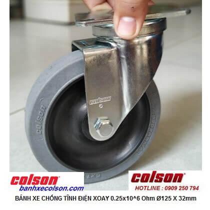 Hình thực tế bánh xe đẩy dẫn điện phi 125mm càng xoay di động 2-5646-445C banhxecolson.com