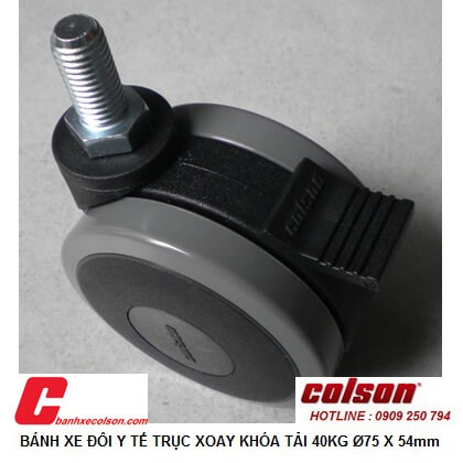 Hình thực tế Bánh xe loại nhỏ có khóa d75 x54 dùng cho nội thất CGT7554 banhxecolson.com
