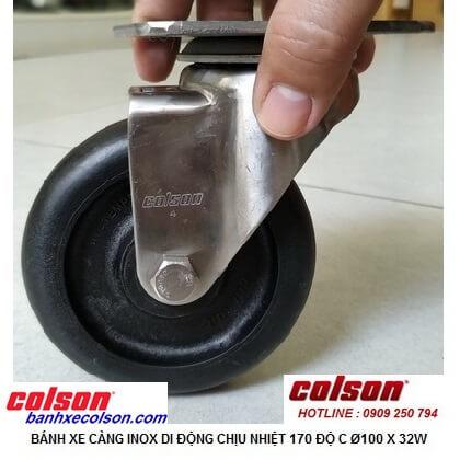 Hình thực tế Bánh xe quay 360 chịu nhiệt độ cao càng inox 304 2-4456-53HT banhxecolson.com