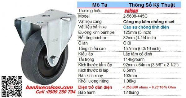 Kích thước bánh xe dẫn điện 5 inch 0.25x10^6 Ohm càng cố định 2-5608-445C banhxecolson.com