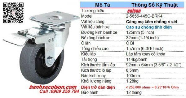 Kích thước bánh xe đẩy 125 dẫn điện 0.25x10^6 Ohm có khóa 2-5646-445C-BRK4