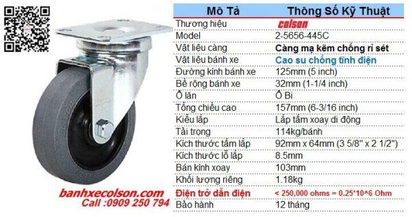 Kích thước bánh xe đẩy dẫn điện phi 125mm càng xoay di động 2-5646-445C banhxecolson.com