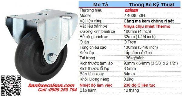 kích thước bánh xe trolley chịu nhiêt càng thép cố định d100 2-4608-53HT banhxecolson.com