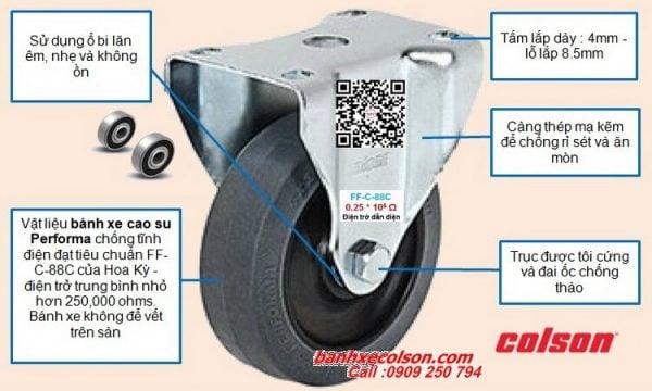 quy cách bánh xe chống tĩnh điện càng cố định banhxecolson.com