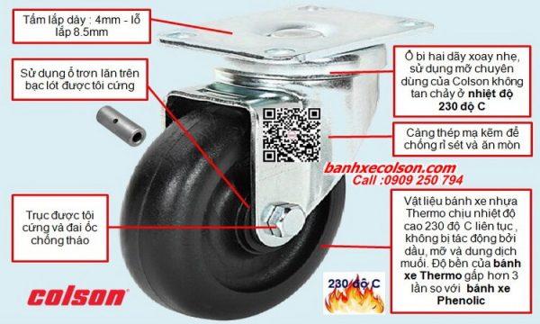 Quy cách bánh xe càng xoay chịu nhiệt phi càng thép banhxecolson.com
