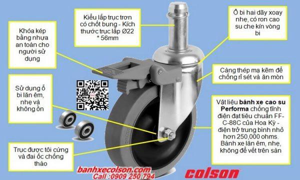 Quy cách bánh xe cao su chịu lực lắp trục trơn 22mm chống tĩnh điện banhxecolson.com