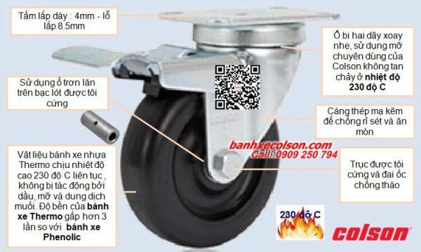 Quy cách bánh xe có khóa chịu nhiệt càng thép banhxecolson.com