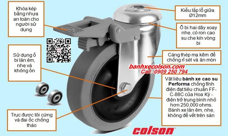 Quy cách bánh xe đẩy hàng cao su chống tĩnh điện lắp lỗ giữa Ø 12mm banhxecolson.com