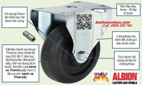 Quy cách bánh xe đẩy loại nhỏ 75mm chịu nhiệt cố định A2-3308-52HT banhxecolson.com