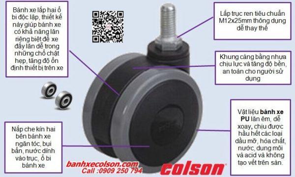quy cách Bánh xe đẩy loại nhỏ phi 75mm dùng cho xe đẩy y tế CGT7554