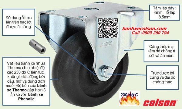 quy cách bánh xe đẩy chịu nhiêt càng thép cố định banhxecolson.com