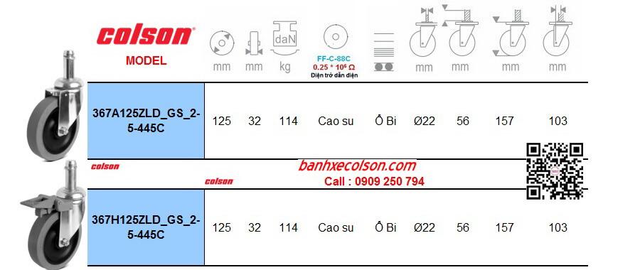 Thông số bánh xe cao su chịu lực lắp trục trơn 22mm chống tĩnh điện banhxecolson.com