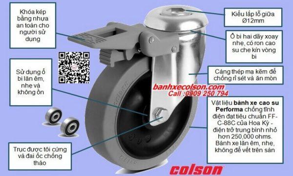 Thông số bánh xe chở hàng cao su d125 dẫn điện có khóa lắp lỗ giữa Ø12 banhxecolson.com