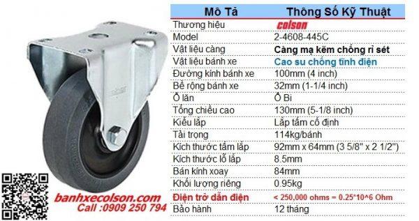 Thông số bánh xe chống tĩnh điện ESD ~ AntiStatic d100mm 2-4608-445C banhxecolson.com