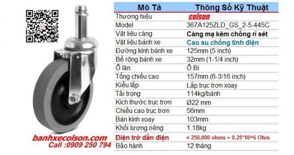 Thông số bánh xe đẩy cao su xoay d125 trục trơn 22mm chống tĩnh điện banhxecolson.com
