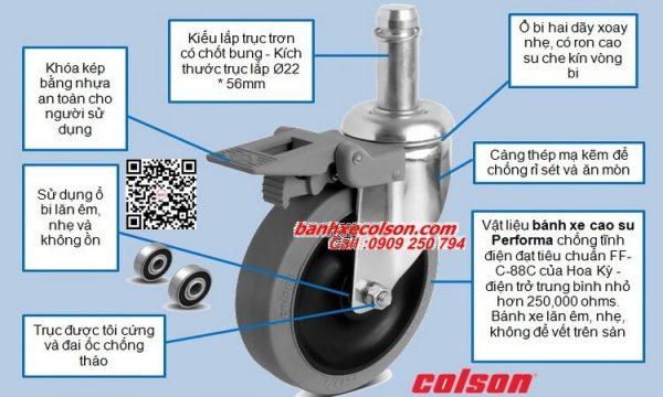 Thông số bánh xe đẩy chống tĩnh điện trục trơn 22mm banhxecolson.com