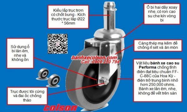 Thông số bánh xe đẩy dẫn điện lắp trục 22mm banhxecolson.com