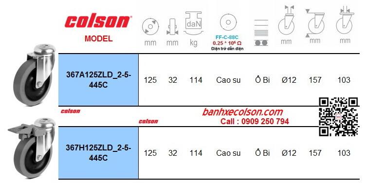 Thông số bánh xe đẩy hàng cao su chống tĩnh điện lắp lỗ giữa Ø 12mm banhxecolson.com