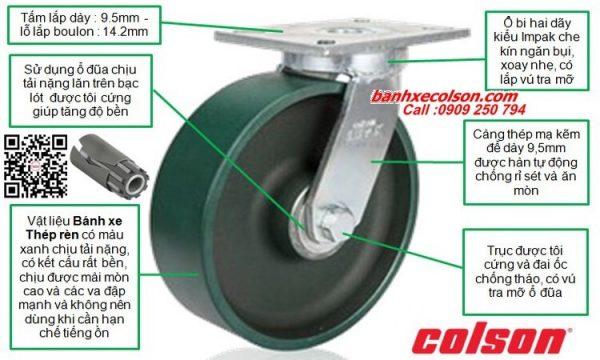 Thông số bánh xe đẩy siêu tải trọng trên 1 tấn ( 1,800kg - 2,025kg ) banhxecolson.com
