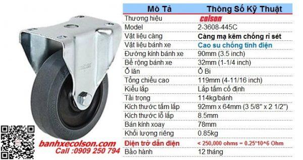 Thông số kỹ thuật bánh xe đẩy ESD dẫn điện phi 90mm càng cố định 2-3608-445C banhxecolson.com