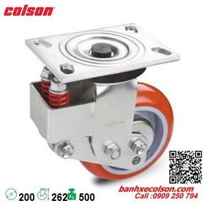 bánh xe đẩy phi 200 PU xoay có lò xo giảm chấn SB-8509-948 banhxecolson.com