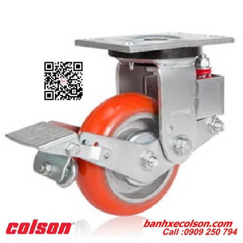 Bánh xe đẩy pu giảm xóc Colson Caster có khóa banhxecolson.com