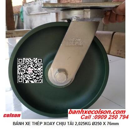 Hình thực tế bánh xe đẩy 25cm tải trọng nặng 2,025kg càng xoay 7-10679-279 banhxecolson.com