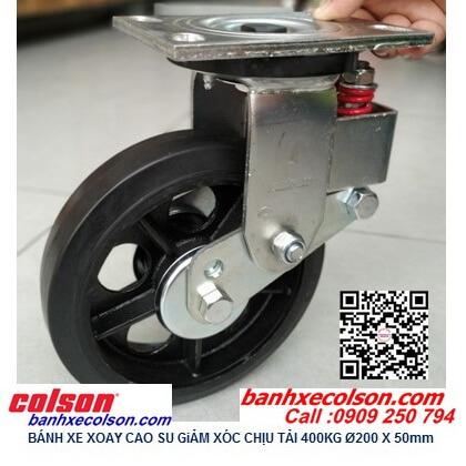 Hình thực tế Bánh xe đẩy cao su xoay 200mm có lò xo giảm sốc SB-8509-648 banhxecolson.com