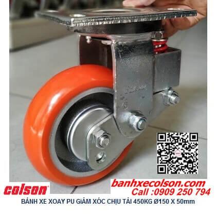 Hình thực tế bánh xe lò xo giảm xóc Pu lõi gang 150 càng xoay SB-6509-948 banhxecolson.com