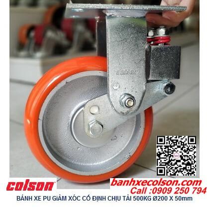 Hình thực tế bánh xe pu 200 giảm sóc chịu tải 500kg cố định SB-8508-948 banhxecolson.com