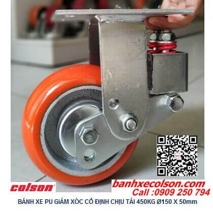 Hình thực tế bánh xe pu giảm sốc Colson Mỹ phi 150 càng tĩnh SB-6508-948 banhxecolson.com