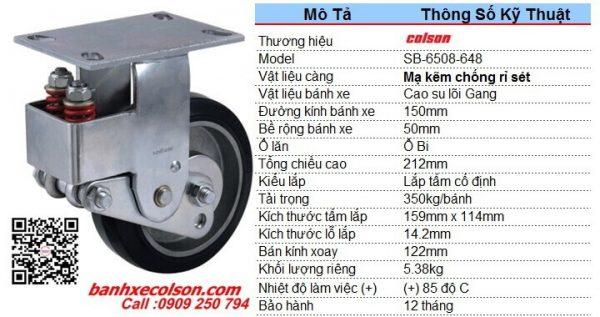 kích thước Bánh xe cao su lò xo giảm xóc càng cố định d150 SB-6508-648 banhxecolson.com