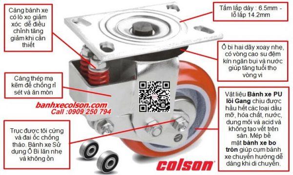 Quy cách bánh xe đẩy pu giảm xóc ( Shock Absorbing Caster ) Colson Mỹ banhxecolson.com
