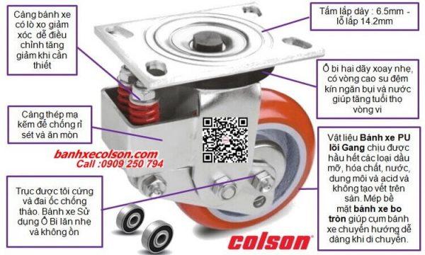 Quy cách bánh xe xoay pu giảm xóc Colson Mỹ banhxecolson.com