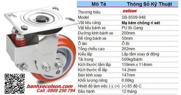 Thông số bánh xe đẩy phi 200 PU xoay có lò xo giảm chấn SB-8509-948 banhxecolson.com