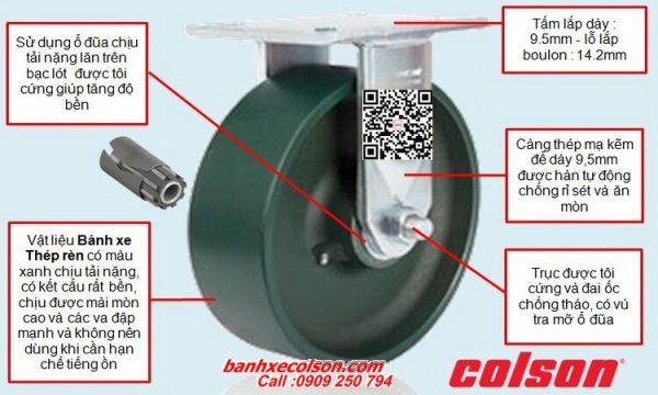 Thông số bánh xe đẩy siêu tải cố định thép rèn banhxecolson.com