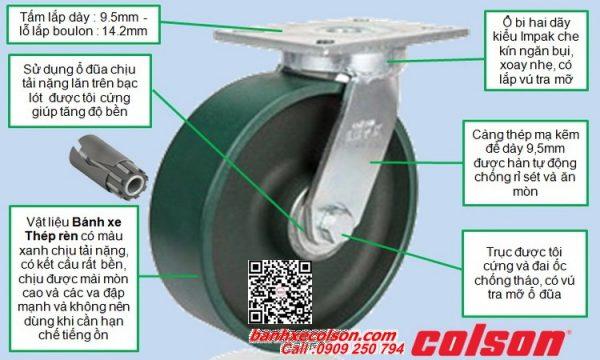 Thông số bánh xe đẩy siêu tải xoay tự lựa thép rèn banhxecolson.com