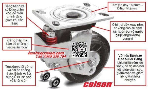 Thông số bánh xe kéo hàng có lò xo giảm sốc | bánh xe cao su Colson USA banhxecolson.com